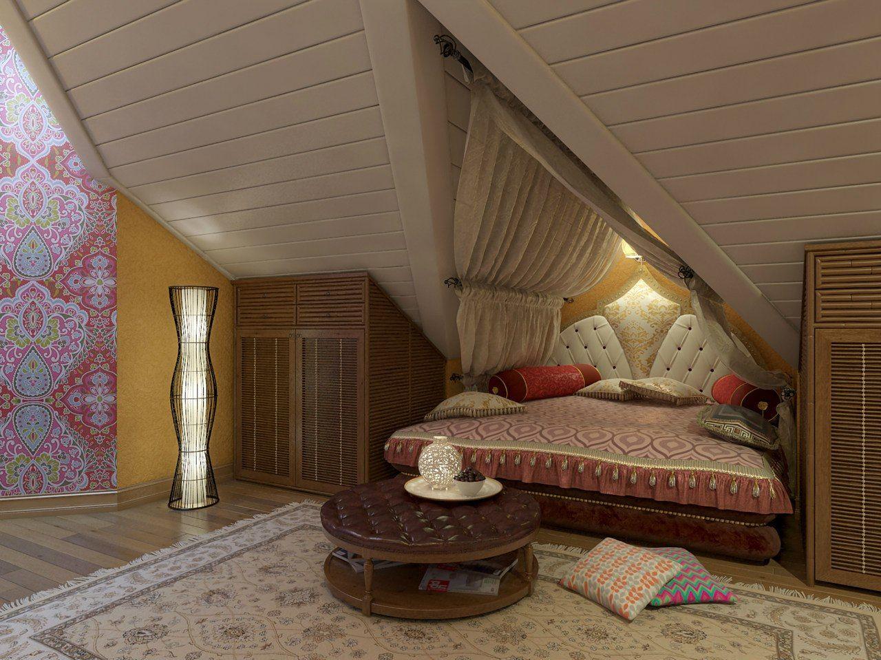 «Восточная» спальня в мансарде. Проект студии интерьера ИндигоДом