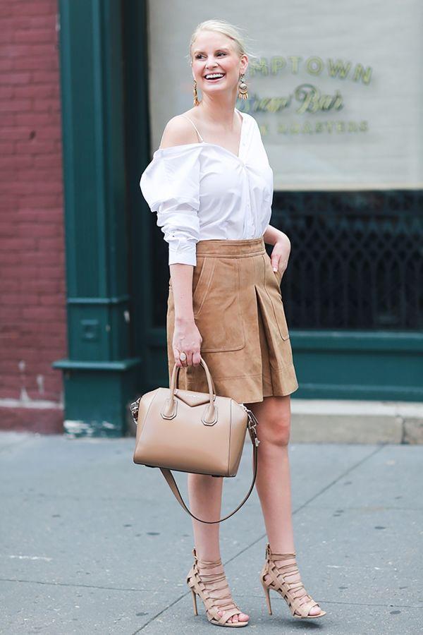 Рубашка с замшевой юбкой